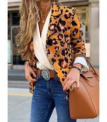 blazer de manga larga con cuello de solapa de leopardo amarillo