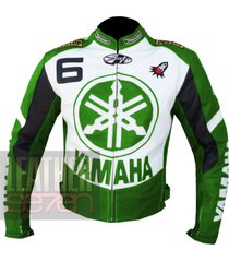 yamaha 6 green leather motorcycle motorbike pure  cowhide safety  jacket