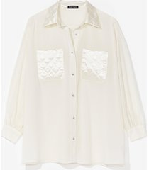 womens live without sheer oversized quilted shirt - cream