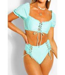 bikini met hoge taille, pofmouwen en vetersluiting, turquoise