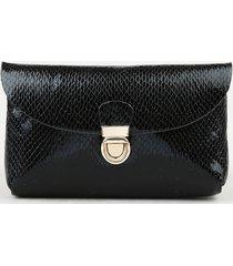 pochete feminina pequena envelope texturizada cobra preta