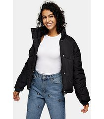 black padded puffer jacket - black