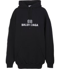 balenciaga woman black medium fit bb pixel hoodie