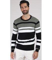 suéter masculino listrado em tricô gola careca preto