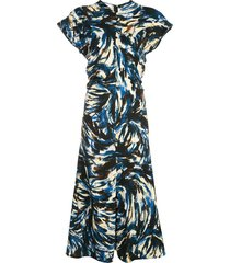 high neck swirl midi dress