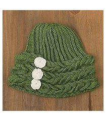 100% alpaca crocheted hat, 'garden joy' (peru)