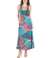 24seven comfort apparel sleeveless floral print maxi dress with pockets