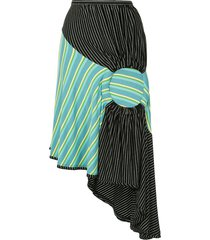 kiko kostadinov asymmetric length striped skirt - green
