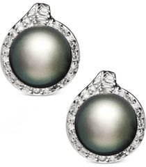 14k white gold earrings, cultured tahitian pearl (11mm) and diamond (3/4 ct. t.w.) stud earrings