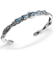carolyn pollack blue topaz (1-3/4 ct. t.w.) five stone cuff bracelet in sterling silver