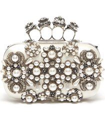jewel pearl embellished knuckle clutch