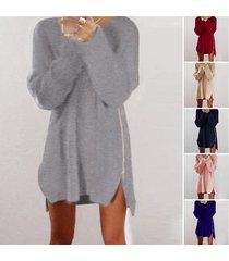 women's warm loose above knee polyester plain knitted zipper sweater dresses blu