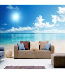 relaxing 3d calm ocean beach blue sky wallpaper mural wall art three dimension