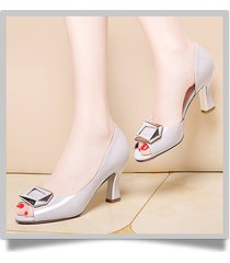 sandalias casuales de tacón alto peep toe para mujeres sandalias gruesas de