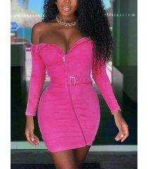 rose cinturón diseño fuera del hombro vestido