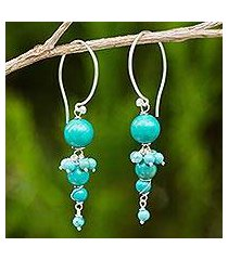beaded calcite dangle earrings, 'intermittent' (thailand)