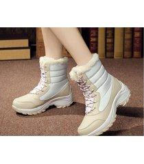 botas de nieve de la plataforma de invierno de las mujeres -blanco