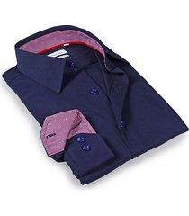 levinas men's tailored-fit dress shirt - navy - size 16.5