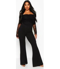 dobby mesh rouched jumpsuit, black