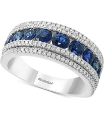 effy sapphire (1-3/4 ct. t.w) & diamond (1/2 ct. t.w.) band ring in 14k white gold