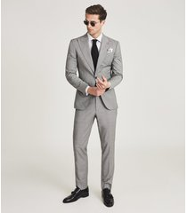 reiss wave - wool puppytooth check blazer in soft grey, mens, size 46