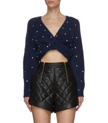 crystal embellished front twist cropped sweater