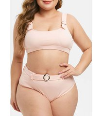 textured ribbed ring plus size bikini swimsuit
