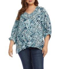 plus size women's karen kane balloon sleeve v-neck blouse