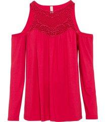 maglia con cut-out e inserto a uncinetto (rosso) - bodyflirt boutique