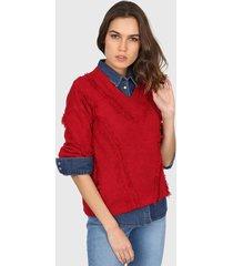 sweater rojo minari flecos