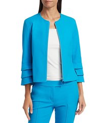 akris punto women's tiered ruffle-sleeve zip jacket - azure - size 6
