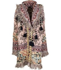 etro jacquard knitted coat with fringe