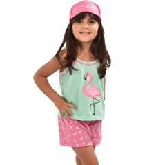 pijama rt infantil menina blusa com short tapa olho flamingo 0318 verde