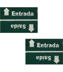 2 capachos p/ porta decorativo 60x1,2m placa44 - verde - feminino - dafiti
