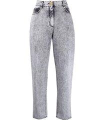 balmain low-rise boyfriend jeans w/ monogram