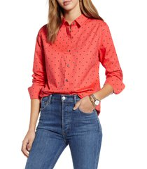 women's 1901 button-up shirt, size x-small - red