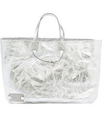 jw anderson crinkle-effect tote bag - silver