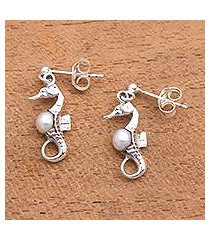 cultured pearl dangle earrings, 'amed beach seahorse' (indonesia)