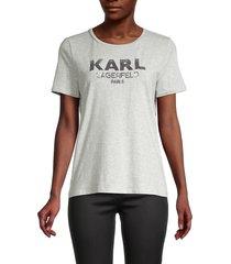 karl lagerfeld paris women's embellished logo t-shirt - white gold - size xxs