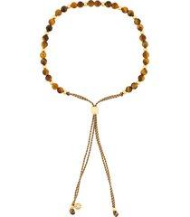 astley clarke beaded skinny bracelet - brown