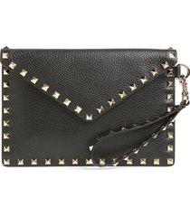 valentino garavani medium rockstud leather envelope pouch - black