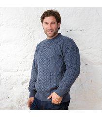 springweight new wool crew neck sweater blue medium