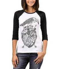 camiseta raglan chess clothing feminina
