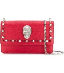 philipp plein bolsa com detalhe de caveira em studs - vermelho