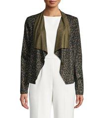 bagatelle women's draped open-front jacket - butterscotch - size l