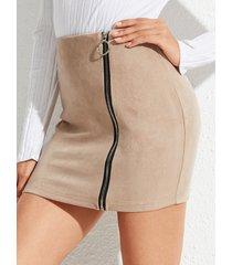 yoins cremallera caqui diseño minifalda de ante de talle alto