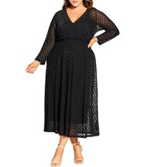 plus size women's city chic flock spot long sleeve dress