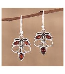 garnet dangle earrings, 'burnt leaves' (india)