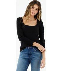 camiseta de mujer, silueta ajustada, cuello cuadrado, manga larga, color negro