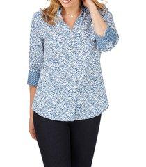 women's foxcroft mary winding vines print shirt
